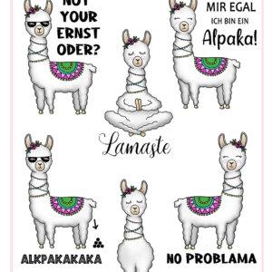 Lustiger Lama Alpaka Stickerbogen mit Sprüchen
